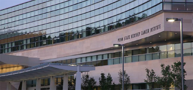 Photo of the Penn State Cancer Institute building entrance.