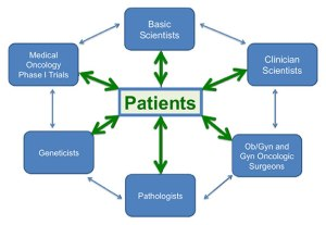 Schematic of gynecologic malignancies group, with the patient at the center.